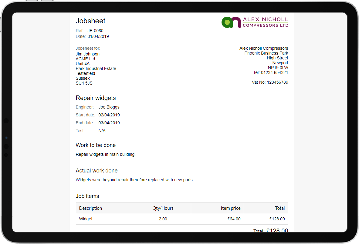 Job sheet software job-sheet header