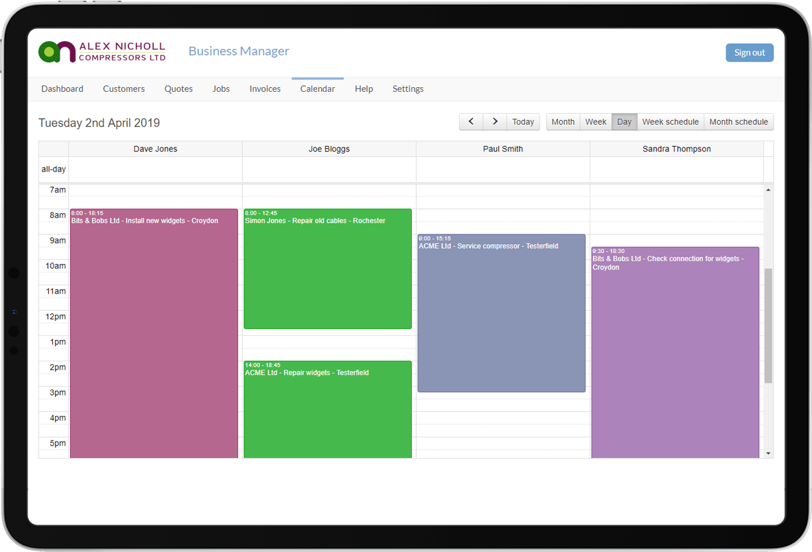Construction Management Software Calendar